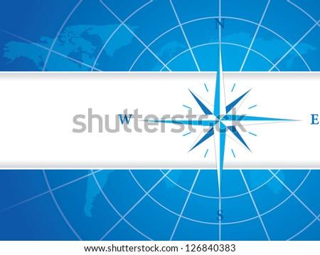 Modern wind rose compass - stock photo