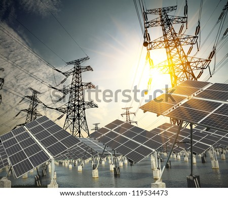 Modern wind turbines Green Energy and Power transmission tower - stock photo