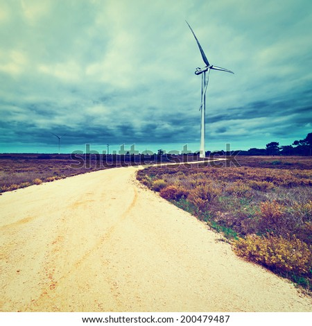 Modern Wind Turbines Producing Energy in Portugal, Instagram Effect - stock photo