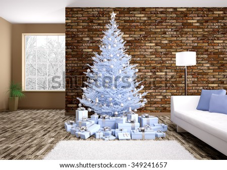 Modern winter christmas interior with blue fir tree 3d rendering - stock photo