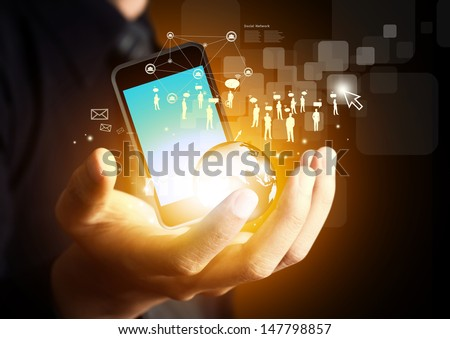Modern wireless technology and social media - stock photo