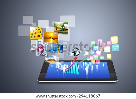 Modern wireless technology and social media icons - stock photo