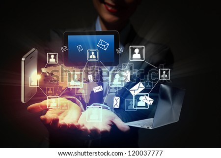 Modern wireless technology illustration with a computer device - stock photo