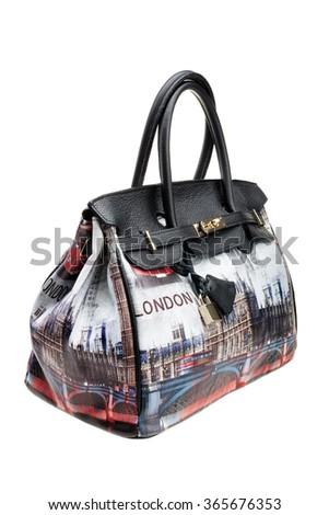 Modern womens bag, London stile, isolated on white background. - stock photo