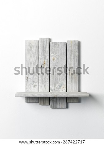 modern wooden bookshelf on the white wall - stock photo