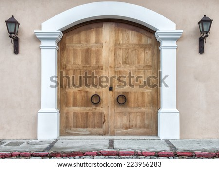 modern wooden door, colonial style - stock photo