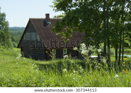 Modern wooden house - stock photo