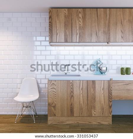 modern wooden kitchen interior - stock photo