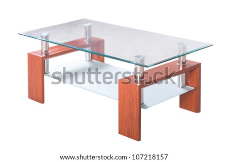 Modern wooden table with glass isolated on the white background - stock photo