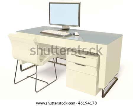 modern  work place on white background - stock photo