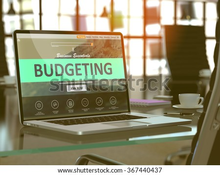 Modern Workplace with Laptop showing Landing Page with Budgeting Concept. Toned 3d Illustration with Selective Focus. - stock photo