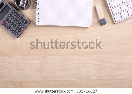 Modern workspace on the desk - stock photo