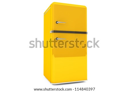 Modern yellow refrigerator on a white background. - stock photo