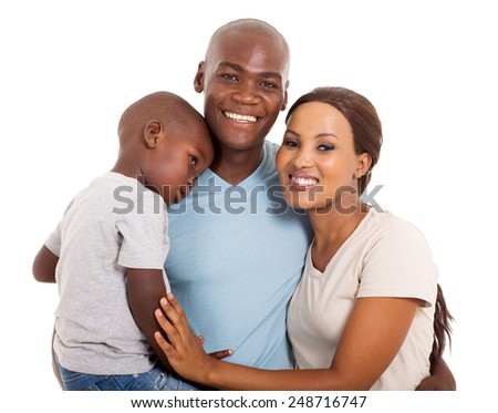modern young African family portrait isolated on white - stock photo