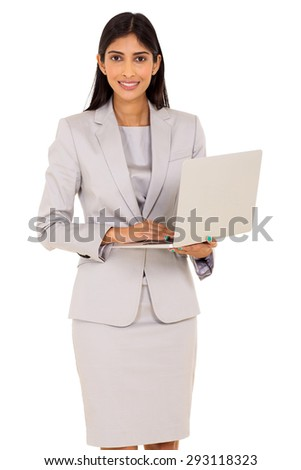 modern young indian corporate worker using laptop computer - stock photo