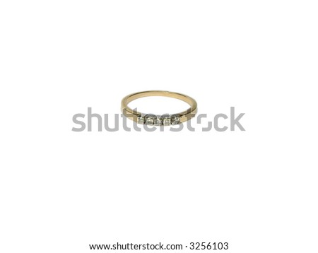 Modest gold ring with brilliants, separately, on a white background. - stock photo