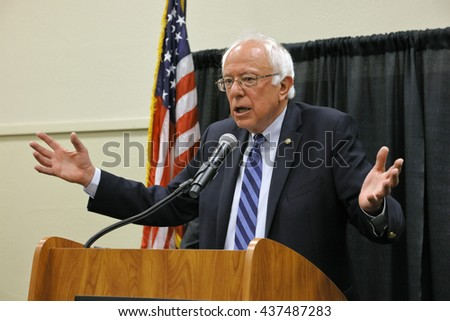 MODESTO, CA- JUNE 02, 2016: Democratic Presidential Candidate Bernie Sanders speaks at a press conference before a campaign rally at Modesto Centre Plaza, Modesto, CA - stock photo
