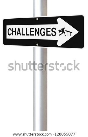 Modified one way road sign on challenges. - stock photo