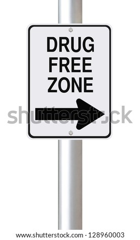 Modified one way sign indicating drug free zone (on white) - stock photo