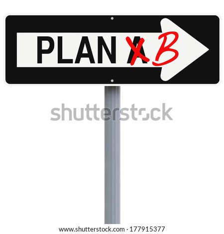 Modified one way sign on contingency planning  - stock photo