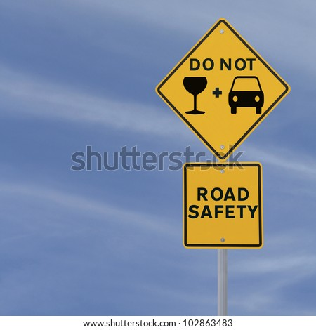 Modified road sign highlighting the danger of drinking and driving - stock photo