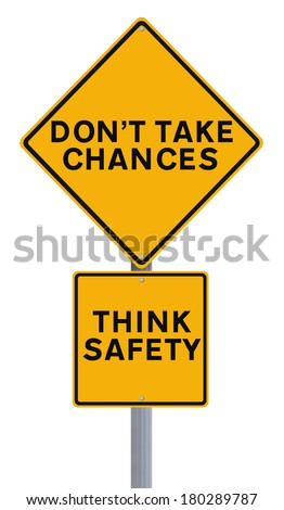 Modified road sign with a safety reminder   - stock photo