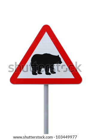 Modified road warning sign with a bear. Applicable to financial concepts. - stock photo