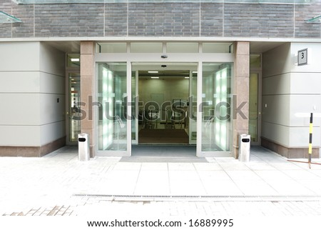 Modrn office entrance - stock photo