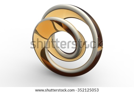 Moebius shaped abstract object on white background - stock photo