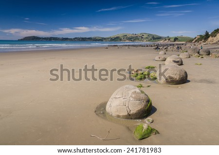 Moeraki boulders, natural wonder ,New Zealand - stock photo