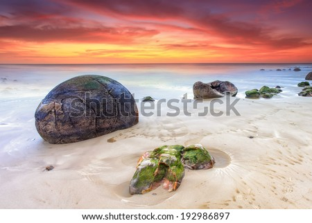 Moeraki Boulders, South Island, New Zealand - stock photo