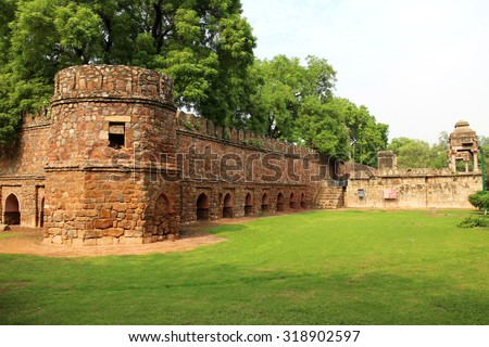 Mohammed Shah's Tomb in Lodhi Gardens, New Delhi, India. - stock photo