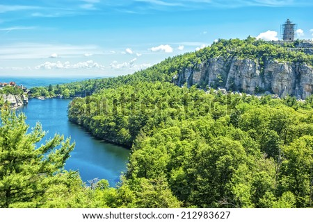 Mohonk Mountain House, old fashioned hotel nestled in the Shawangunk Mountains, New Paltz, New York. - stock photo