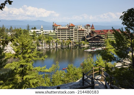 Mohonk Mountain House Resort (built in 1879) and Mohonk Lake, Shawangunk Mountains, New York State, U.S.A.  - stock photo