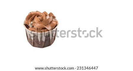 Moist chocolate cupcake over white background - stock photo