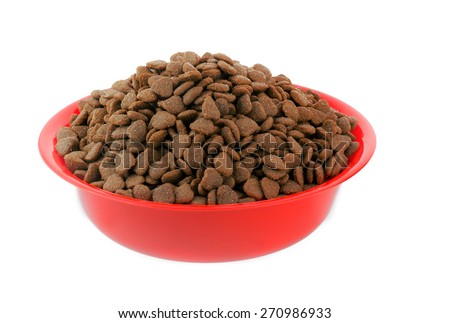 Moist Healthy Dog or cat food in an animal feeding bowl on a white background   - stock photo