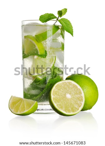 Mojito cocktail isolated on a white background - stock photo