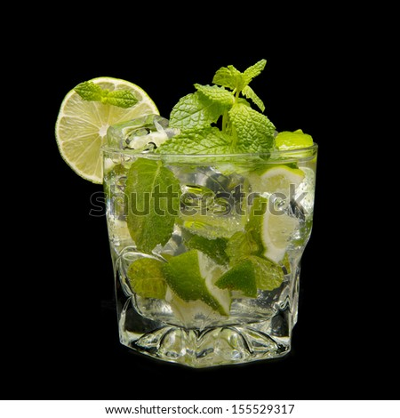 mojito cocktail isolated on black background - stock photo