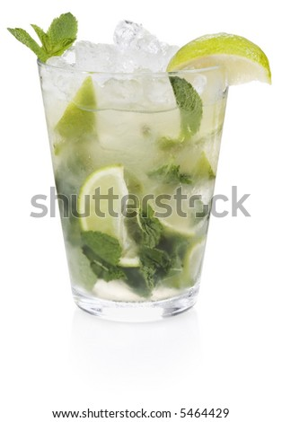 Mojito Cocktail - isolated on white - stock photo