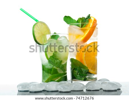 Mojito  cocktail.isolated on white background. - stock photo