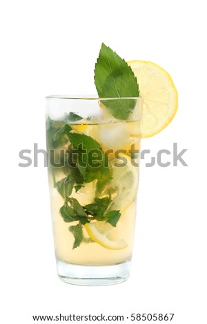 Mojito cocktail or iced tea with lemon, mint leaves and ice on white background - stock photo