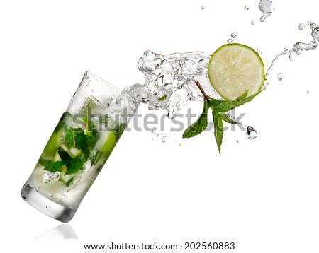 Mojito cocktail splash - stock photo