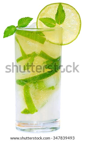 Mojito cocktail with lime and ice cubes and leaf mint in a highball glass on a white background. - stock photo