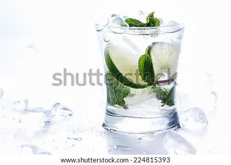 mojito cocktails on white background with chunks of ice - stock photo