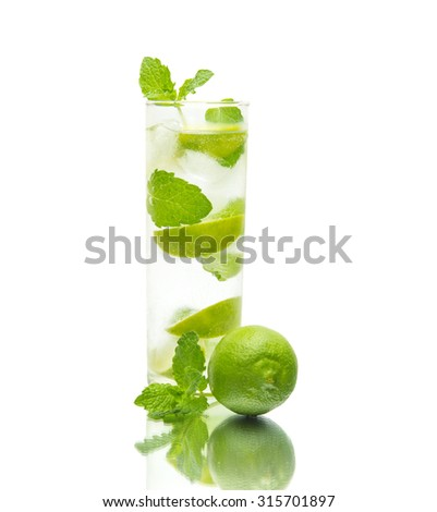 mojito coctail on a mirror, isolated on white background - stock photo