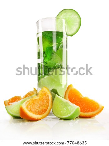 Mojito drink with citrus slices.Isolated on white background - stock photo