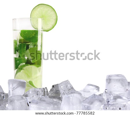 Mojito drink with ice cubes, isolated on white background - stock photo