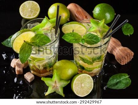 Mojito drinks served on black stone - stock photo