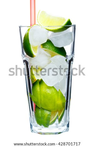 Mojito glass with sliced lime on a white background - stock photo