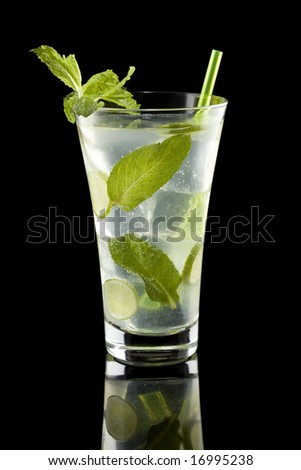 Mojito isolated on a black background - stock photo